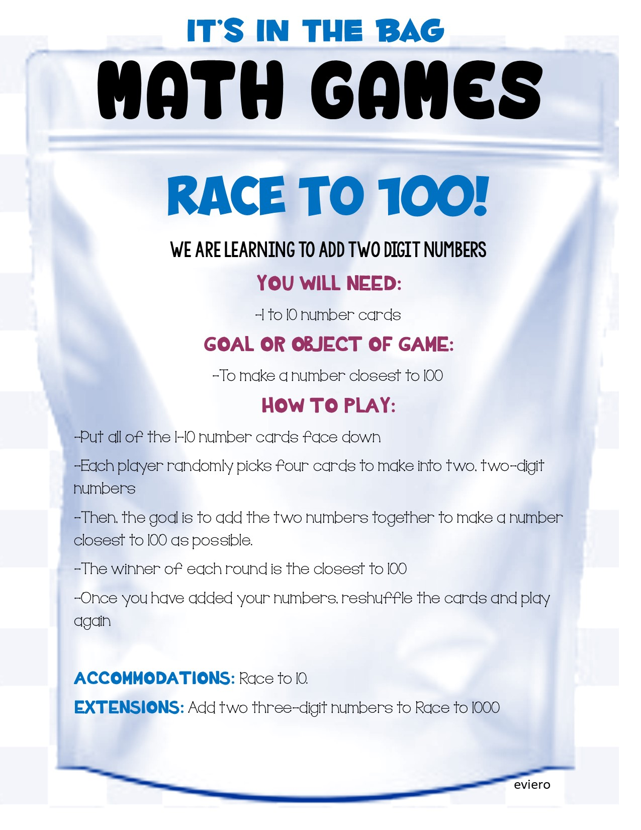 Race to 1000 Math Game